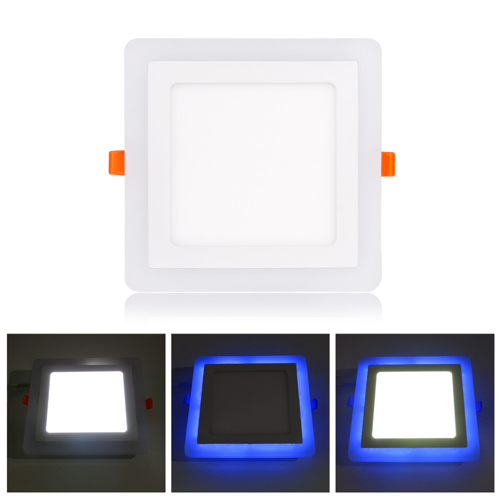 ultra slim 6w 9w 18w 24w dual color rgb led panel light concealed cool white lamp square ceiling. Black Bedroom Furniture Sets. Home Design Ideas