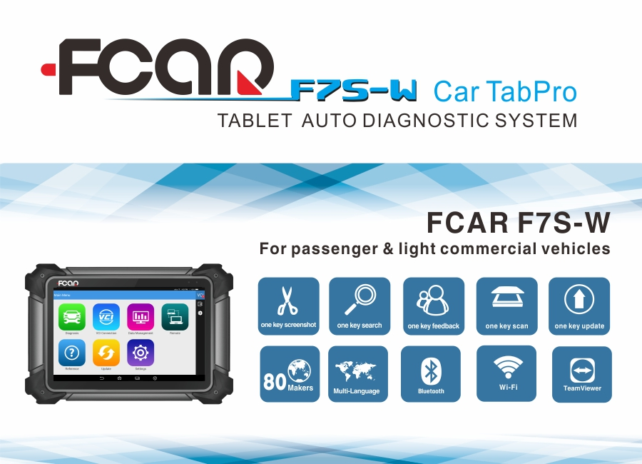 FCAR F7S-W Diagnostic Scanner Tool Original 10 Inch Tablet Cars Bluetooth Android Auto Wifi Status Launch for12V vehicles