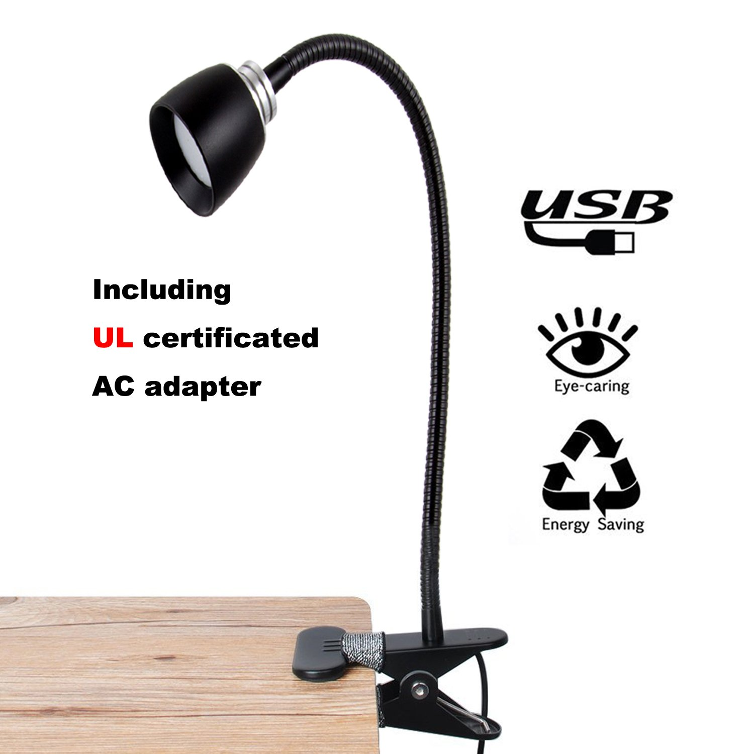 FOCUSAIRY Reading Light Lamp, Night Book Light, Energy-Efficient 3W LED Table Desk Lamp, 2 Brightness Levels Clip On for Desk Bed Headboard and Computers with USB Cable & AC Adapter (Black)