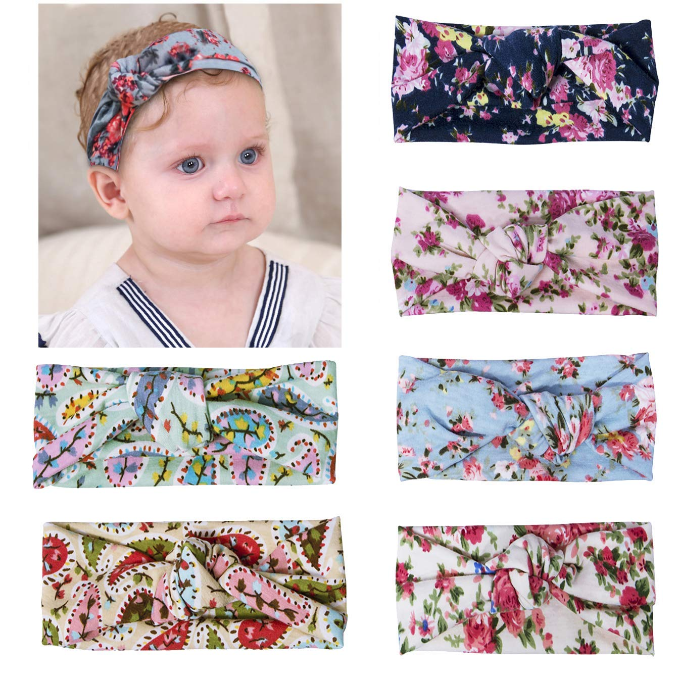 6ae28858784 Get Quotations · Fasker 6 Pack Baby Girl Headband Turban Knotted Headwraps  for Newborn   Toddlers