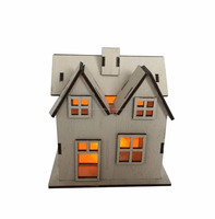 Christmas wooden decoration light LED mini house best sale cheap xmas decorative gifts model on table