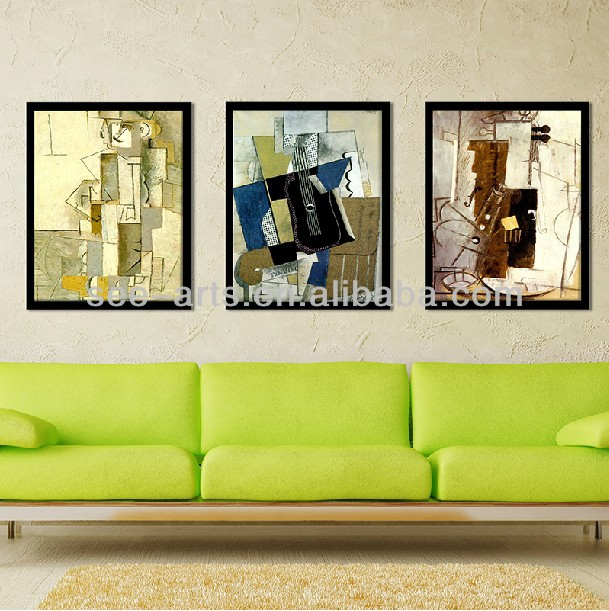 Copy printing Picasso oil painting for wall decoration wood frame