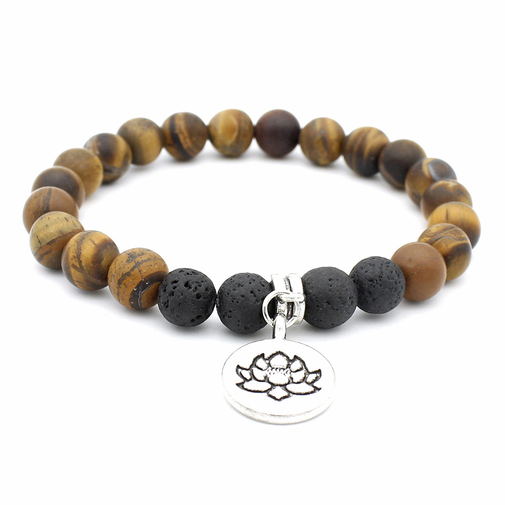 Europe Hot Selling Fashion Tiger Eyes Beads Bracelet With Metal Flower Charm Bracelet Elastic Size New Yoga Jewelry фото