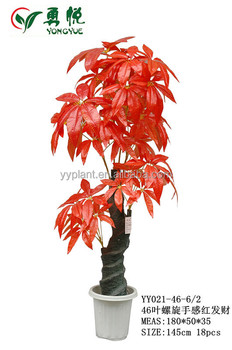 Red Artificial Small Bonsai Plants Plastic Indoor Fake Money Tree