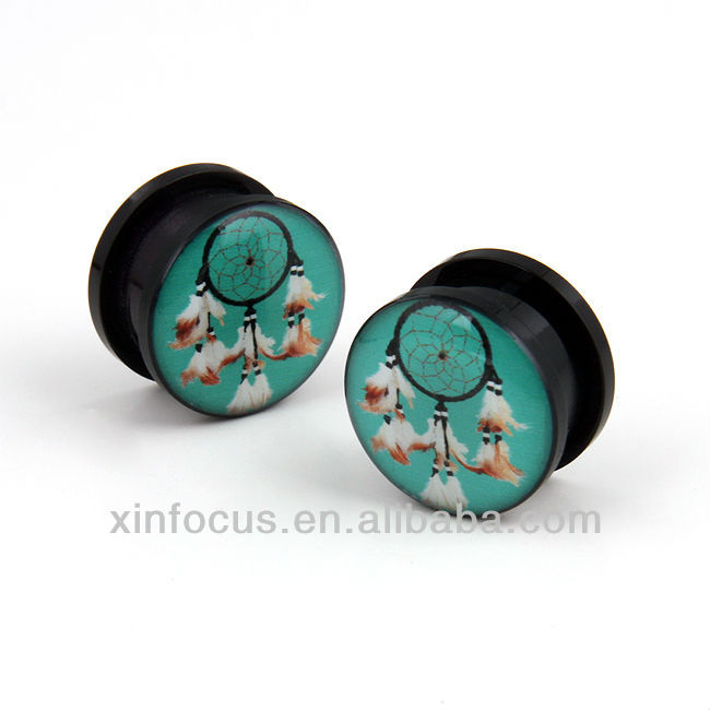 Pair Acrylic Screw dream catcher native american ear flesh plugs gauges tunnel uv acrylic ear plug