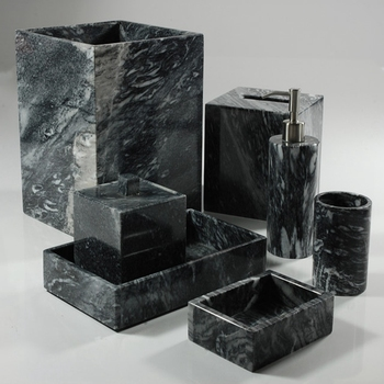 Black Marble Bath Ware Bathroom Accessories Set Liquid Soap Dispenser Natural Stone Tumbler Mug Toilet Brush Holder