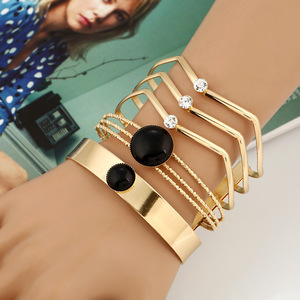 Exaggerate Hollow Cuff Bracelets For Women Glaze Gold Color Crystal Resin Statement Jewelry Big Bangles