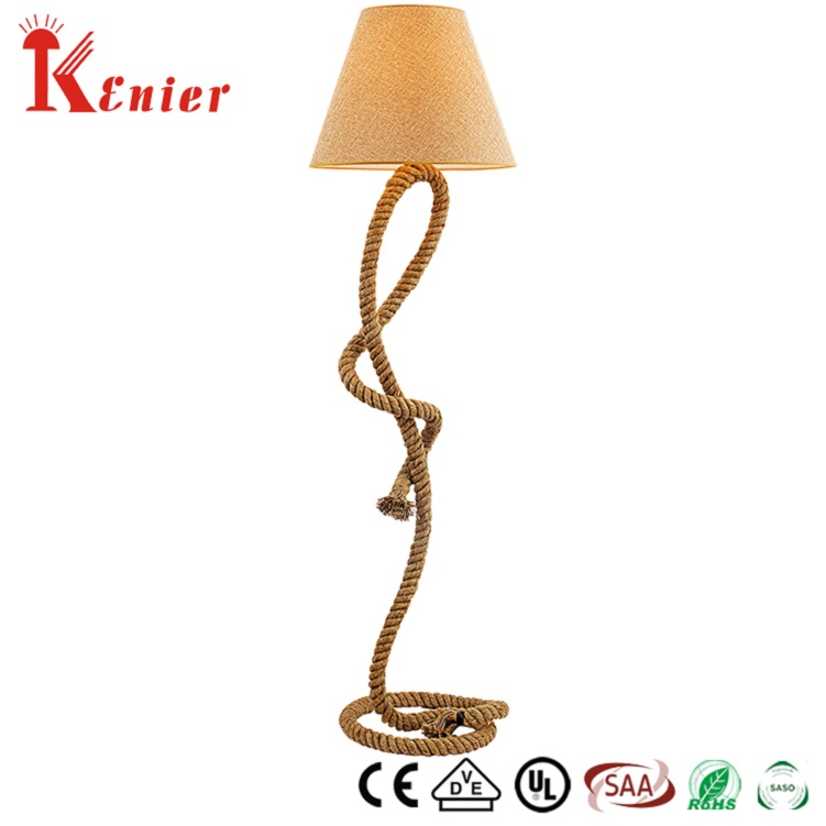 Industrial Style Hemp Rope Base And Cotton Shade Cone