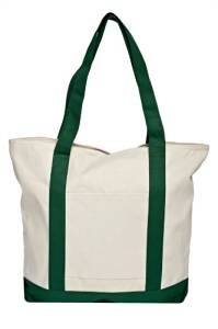 Ultra Heavy Duty Tote Bag/Shoulder Tote Bag/ Grocery Tote Bag (Natural/Forest Green)