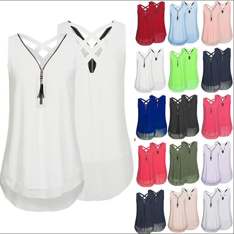 Dependable Large Size Sexy Womens Sleeveless Double Pleated Chiffon Shirt Round Neck Top Vest Candy Color Summer S-5xl Punctual Timing Women's Clothing