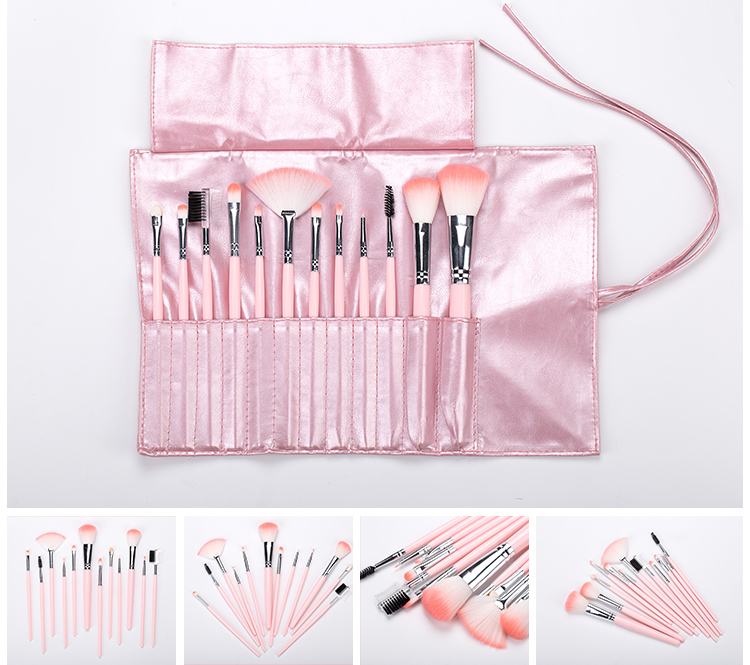 12pcs Mini Makeup Brush Pink Handle Kabuki Brush Set Cute Makeup Brush Set with Pu Leather Hand Bag