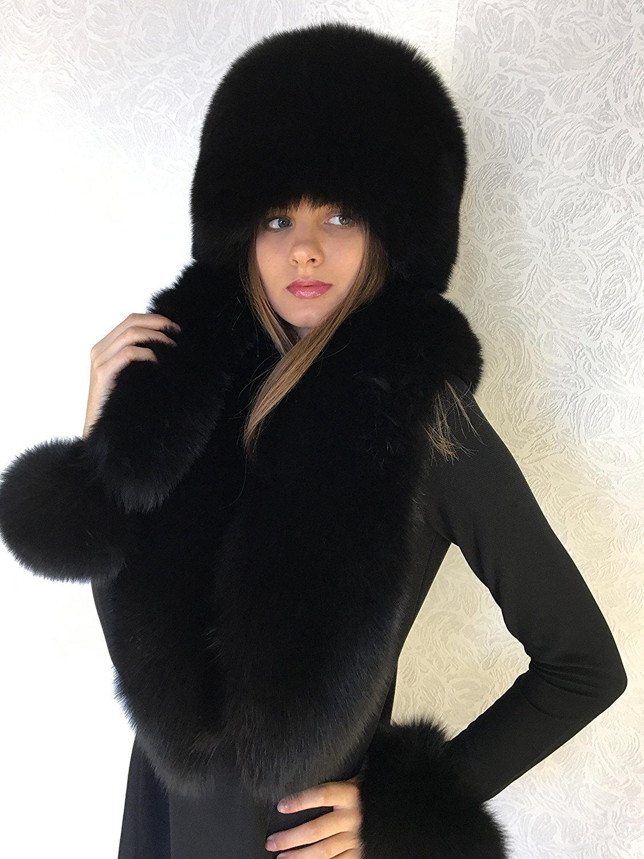 2c58b6fa Get Quotations · Blue Fox Fur Collar 50' Pillbox Hat Set Saga Furs Black  Three Tails