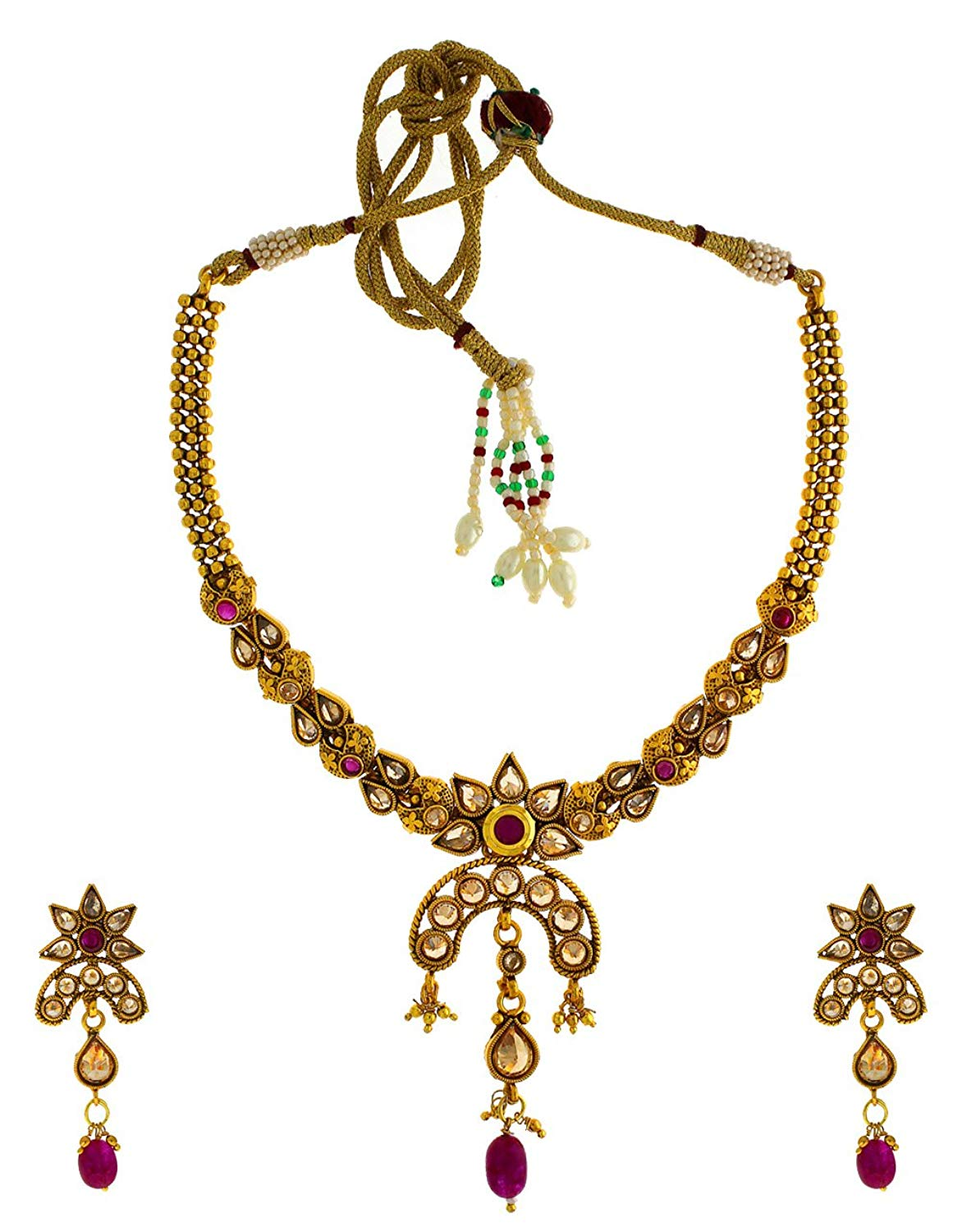 Anuradha Art Golden Finish Styled With Studded Stone Designer Traditional Necklace Set For Women/Girls