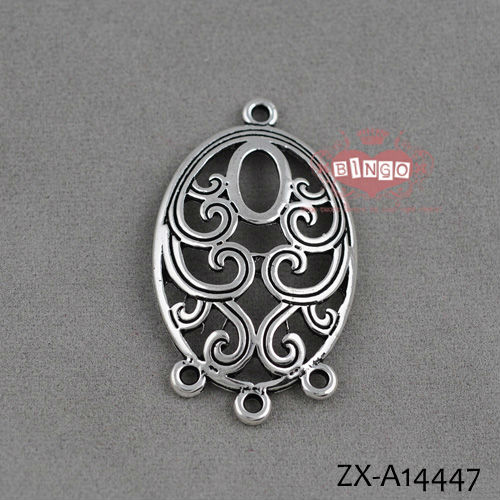 32x24mm Antique Silver Vintage Big flowers Round Ear Wire Earwire Earrings Findings Connectors pendants