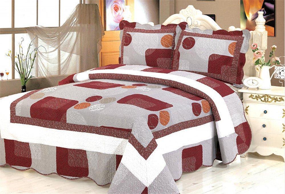 Auvoau stripe quilt set floral quilt set bedspread quilt set real patchwork 3pc (1)