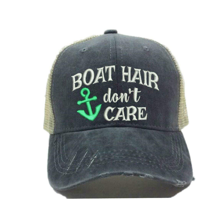 Adult Custom Funny Trucker Hat Boat Hair Don't Care Lake/River Ball Cap (Mint Green)