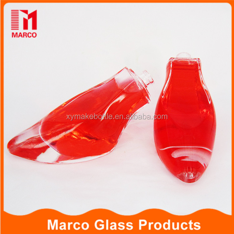 fancy design high heeled shaped clear crimp cap spray glass bottle for perfume