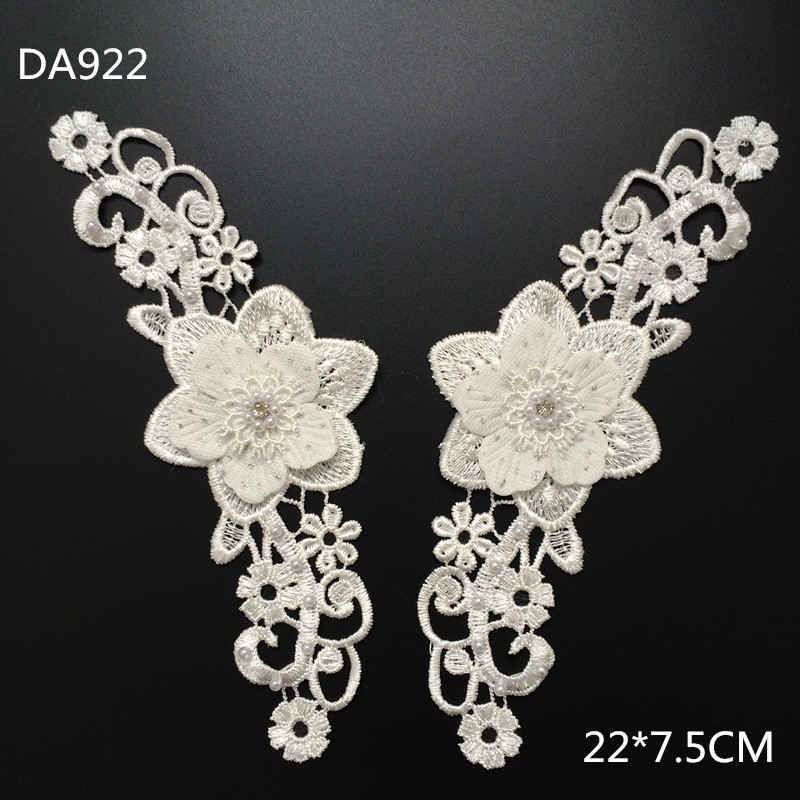 White Embroidery Designs Delicate 3d Flower Trimming Beaded Lace Applique