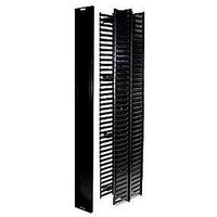 19'' rackmount high density vertical metal cable manager with plastic fingers ,with cover