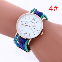 Fashion Women Wover string band Crystal Rhinestone Decorated Bangle Cuff Analog Quartz Bracelet Watch LNW255