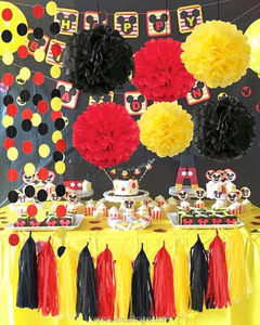 Umiss 20pcs Party Supplies Yellow Black Red Mickey Mouse Birthday Decorations, Paper Pom Pom Tassel Garland for Baby Shower