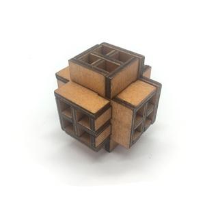 3D wooden window cube block Burr puzzle brain teaser puzzle removing  assembling toy