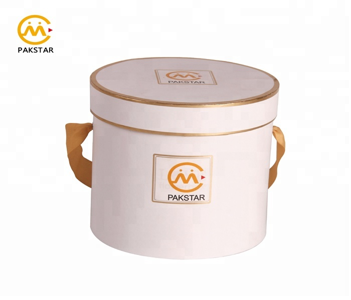 Custom white biodegradable luxury round tube hat box for flowers