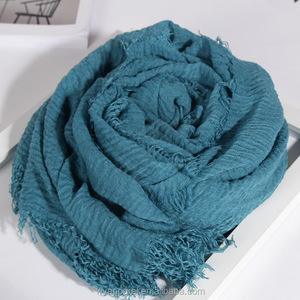 Big size 58 colors in stock muslim hot selling wrinkle TR cotton scarf hijab plain crinkle viscose cotton hijab