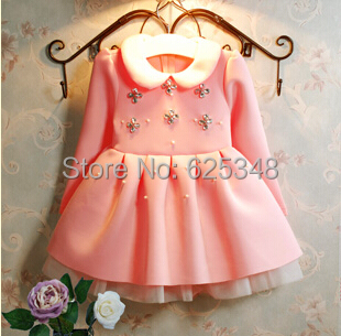 2015 Kids Dress Korean Pearl Diamond Baby Girls Dress 3 7Year Kids Clothes vestidos de menina