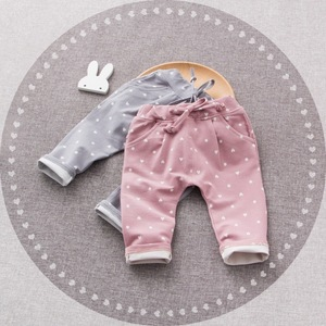 B21905A Newest baby lace-up Polka Dot casual Cotton pants