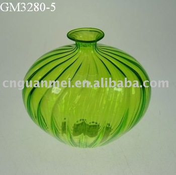 Cheap Mouth Blown Oval Shaped Green Colored Glass Vases Wholesale