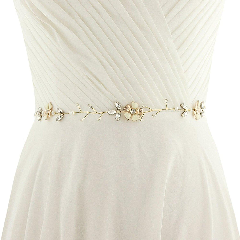 ULAPAN Wedding Belt Pearls Wedding Sash Rhinestones Thin Bridal Sash Bridal Belt,SH18