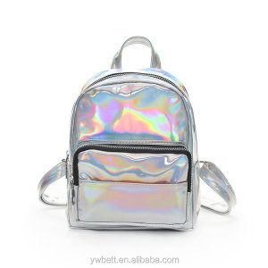 Holographic Laser Leather Backpack Girls Pink Silver Mini Backpack