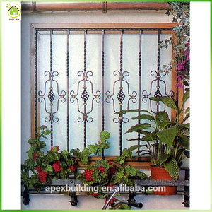 Free customized window iron bars / decorative security grills windows for house design