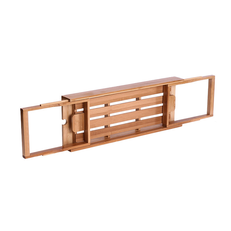 Organic wooden over bath caddy with wine glass holder 7