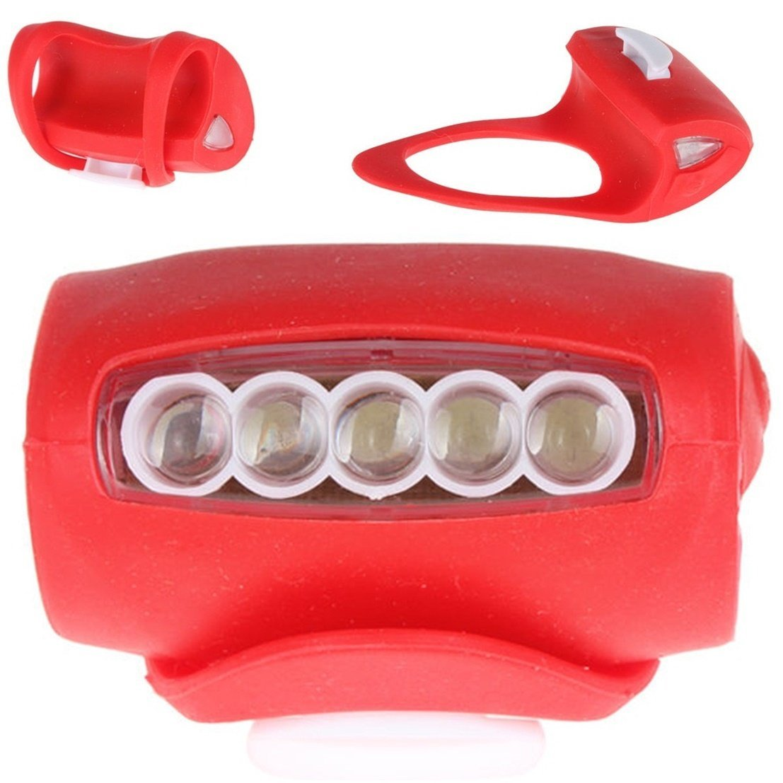 1 Pcs Unrivaled Popular Style 3 Mode 7x LED Silicone Bike Lights Waterproof Front Side Super Bright Color Red