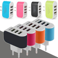 3 Ports Candy Color LED Light Portable USB EU Plug Wall Travel AC Power Charger Adapter for iPhone 7 6 6Plus for Samsung
