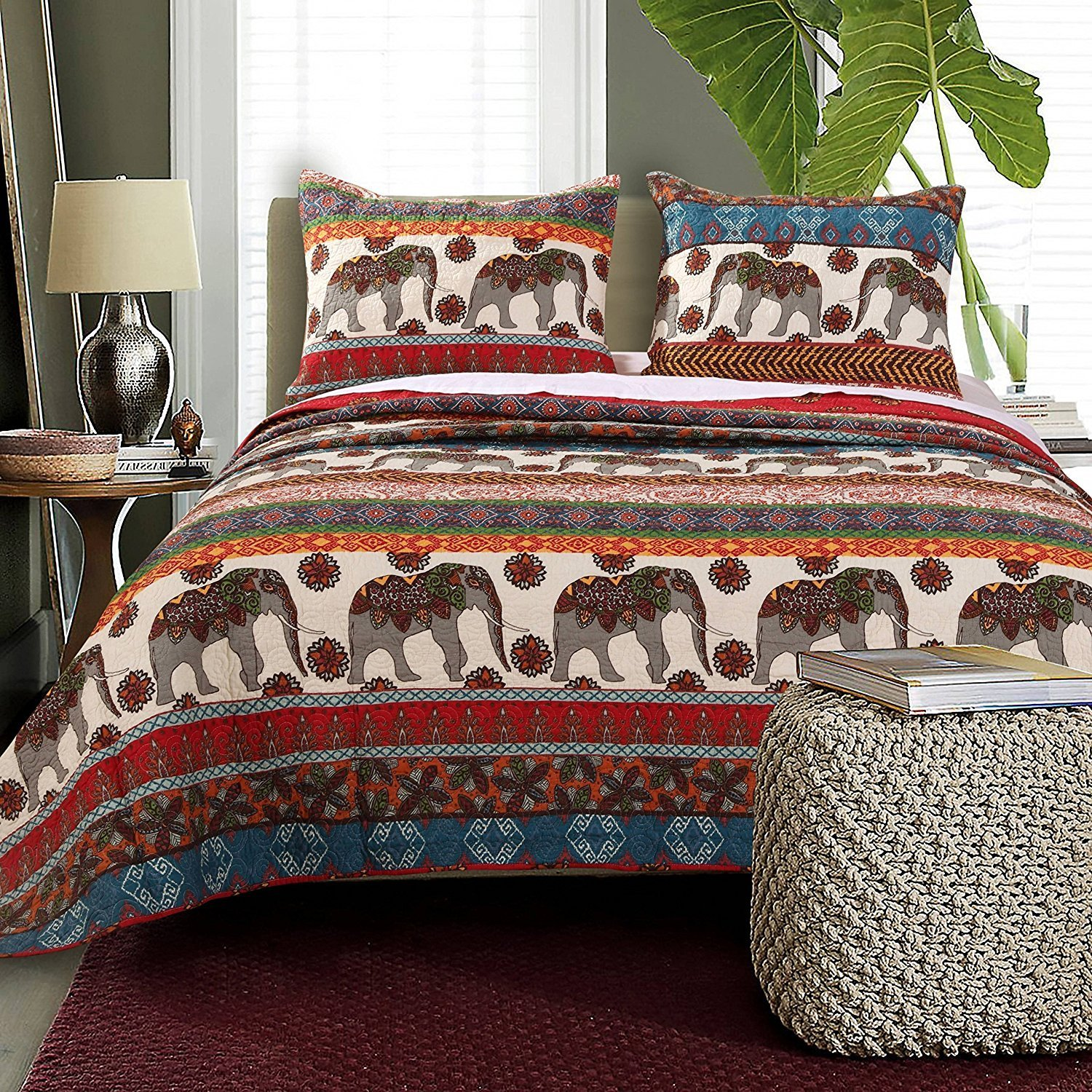 3pc Stunning Grey Red Blue White Full Queen Quilt Set, Polyester, Cotton, Elephant Themed Bedding Zoo Animal Floral Trendy Chic Pretty Stylish Bohemian Boho Vibrant, Microfiber