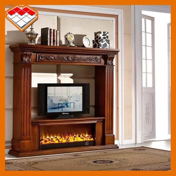 Foyer au bois de chemin e lectrique d corative meuble tv for Meuble leon foyer electrique