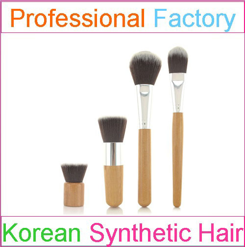 Eco-friend bamboo 4 pcs makeup brush set with synthetic make up brushes cruelty free