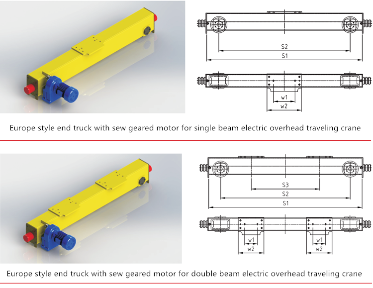 Taiwan style underslung suspension end truck carriage price for overhead crane