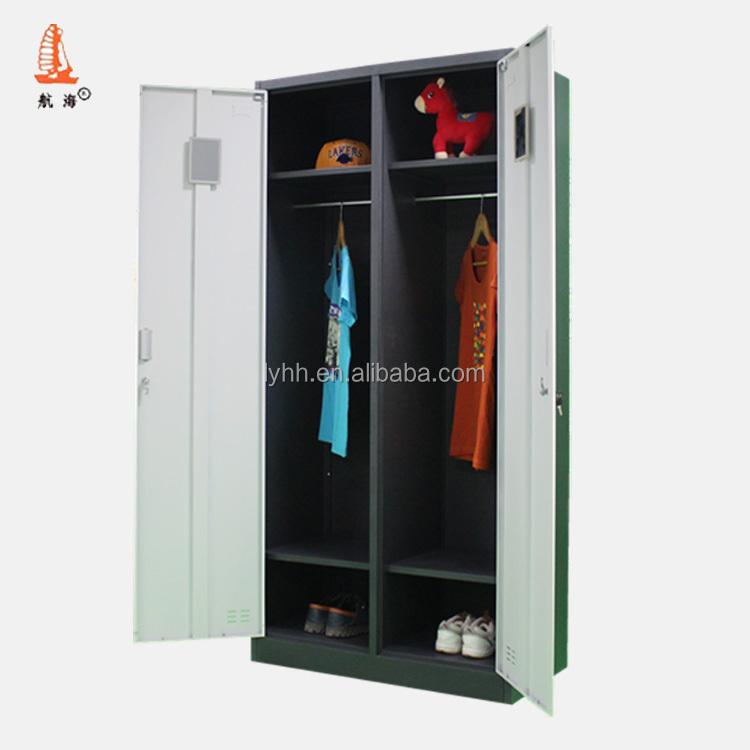 Modern Design Bedroom Furniture Wardrobe Swing Compartment Steel Storage Almirah Hanging Clothes Iron