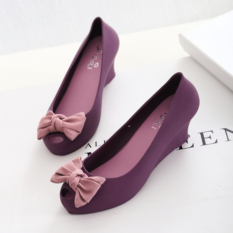 089fe74fa23e Get Quotations · Summer New Arrival Woman Shoes 2015 Wedge Jelly Shoes  Plastic Peep Toe Melissa Sandal Wedge Heel
