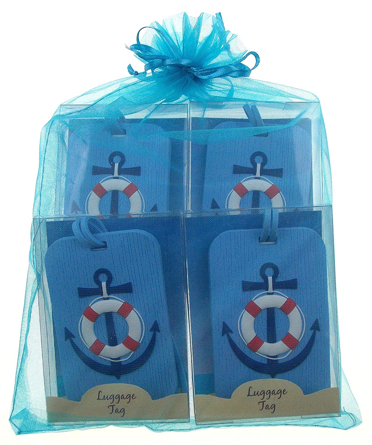 Light Blue Nautical Luggage Tags with Anchor & Life Saver Design Bundle of 4