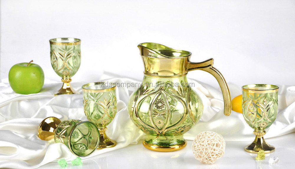 Glass Water Jug Set With Golden Design And Color