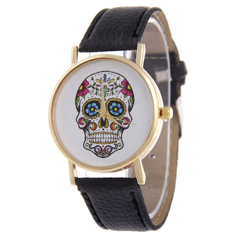 2016 new design 10 colors skull dial geneva girls bracelet watch cheap price leather band wrist watch women