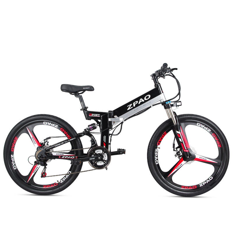 26 Inch 48V 250W 350W Electric Mountain Bike With Integrated Wheel 10.4AH Hidden Battery E-bicycle, Black;white optional