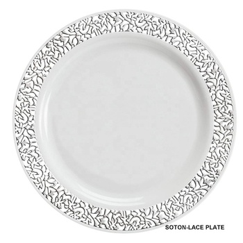 White With Silver Gold Rose Rim Lace Plastic Party Disposable Plate