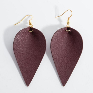 Kaimei 12 colors fashion jewellery 2018 hot selling mint genuine leather earring PU teardrop leaf dangle earrings for girls