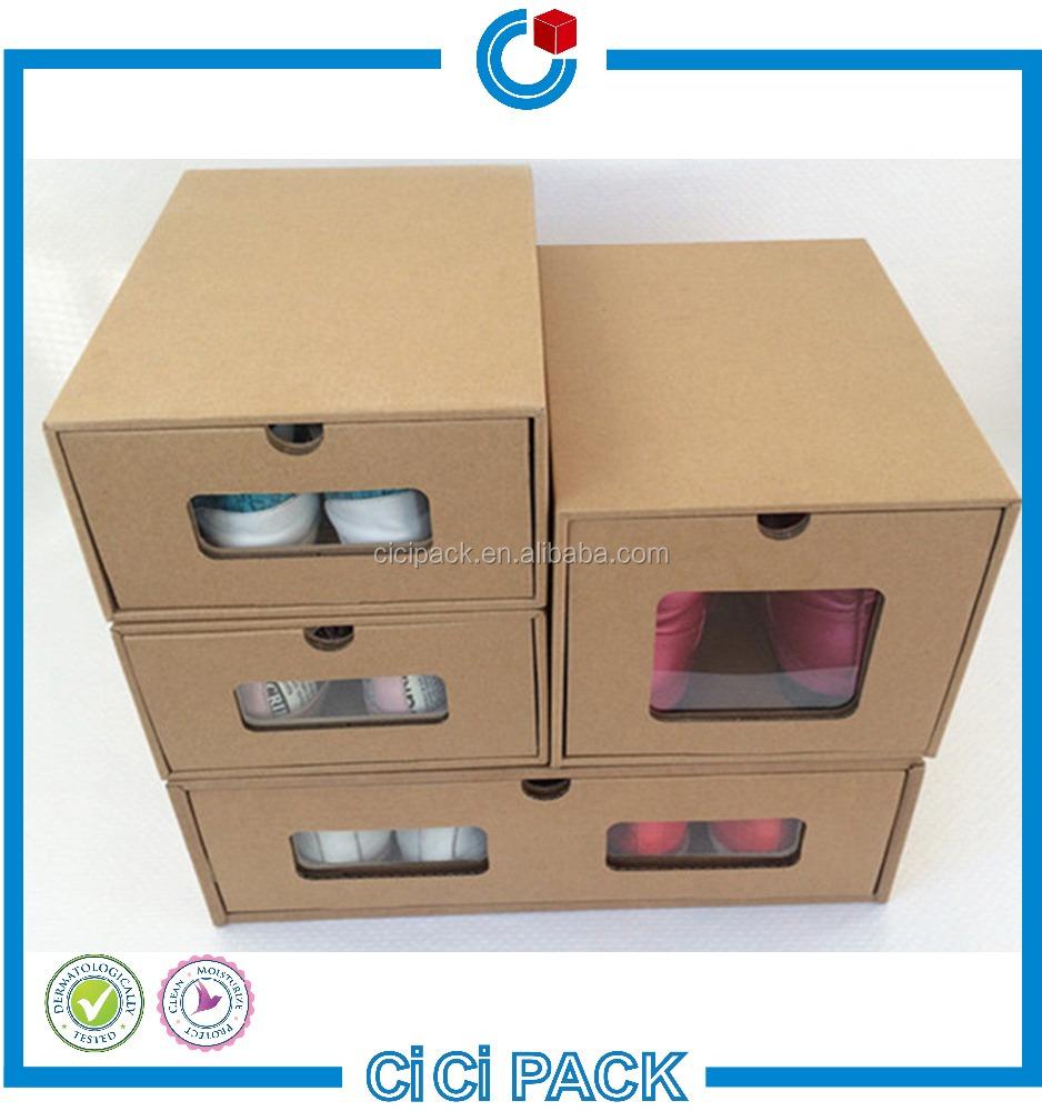 Oem De Papel Kraft Caja De Cart N Para Zapatos Cajas De Papel  ~ Cajas Transparentes Para Zapatos